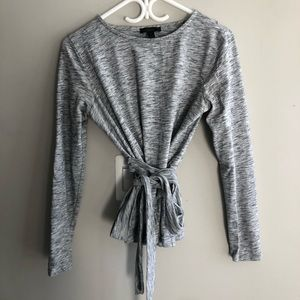 J. Crew Heather Gray Wrap T-Shirt Size Small